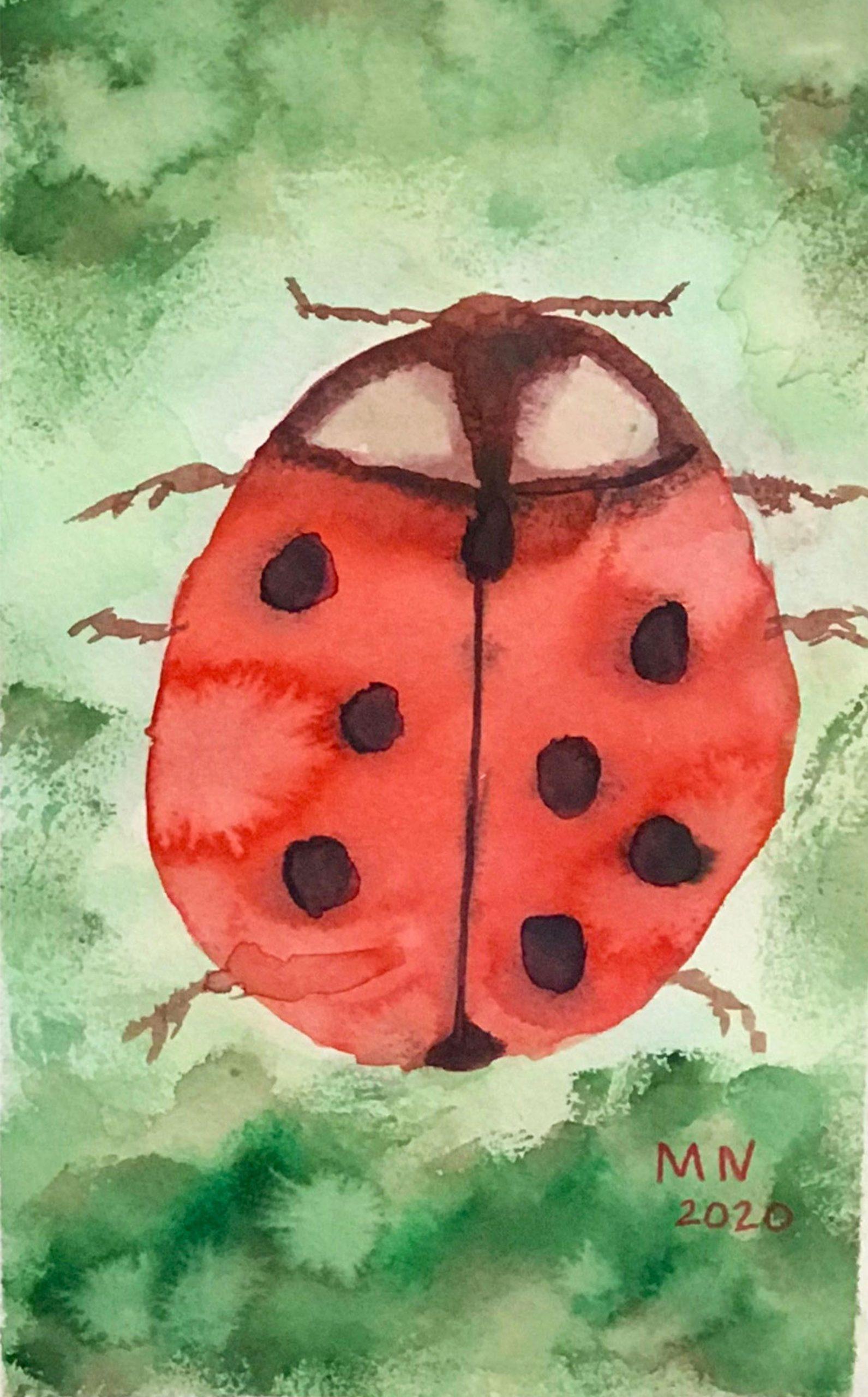 """Ladybug 1"" i akvarell av Maria Nummelin"