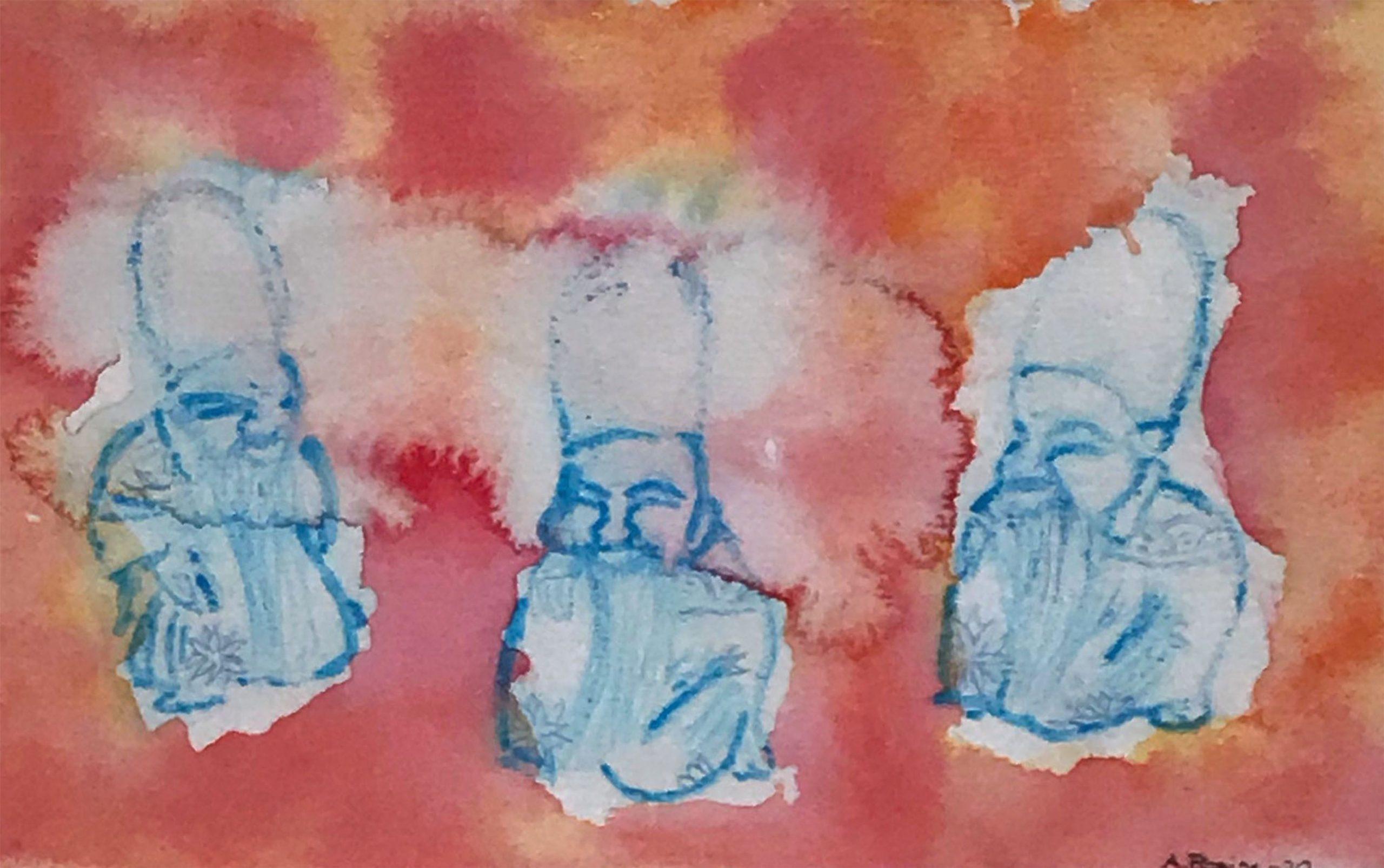 """""""Netsuke"""" i akvarell & blandteknik av Arlene Pipping"""